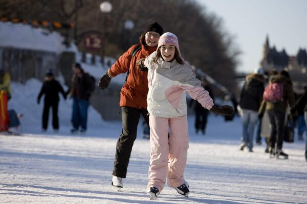 The Rideau Canal Skateway in Ottawa, Ontario, Canada, is 7.8 km (4.8 miles) long and has a total maintained surface area of 165, 621 m² (1.782 million ft²), which is equivalent to 90 Olympic size skating rinks. This is called an ice rink (as distinguished from any number of other frozen bodies of water) because its entire length received daily maintenance such as sweeping, ice thickness checks and there are toilet and recreational facilities along its entire length. We would like to put a claim on the longest (7.8km) and largest in square meters (165, 621 square meters) maintained ice surface on a natural body of water in the world.